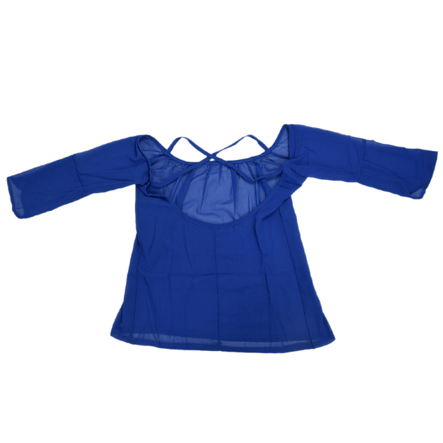 3744e025923de3 Womens Halter Backless Cross Straps Loose Off Shoulder Shirt Blouse Top  Blue US XL Asian XXL
