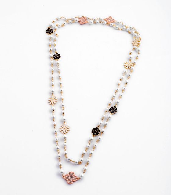 Rock On Rodeo Clover Necklace UK Full  Simulated Pearl Beaded Chian Long Style Costume Jewelry
