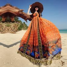 Vendy Original 2016 Summer New Fashion Women's Bohemian Chiffon Wrapped Chest Positioning Printed Loose Plus Size Maxi Dress