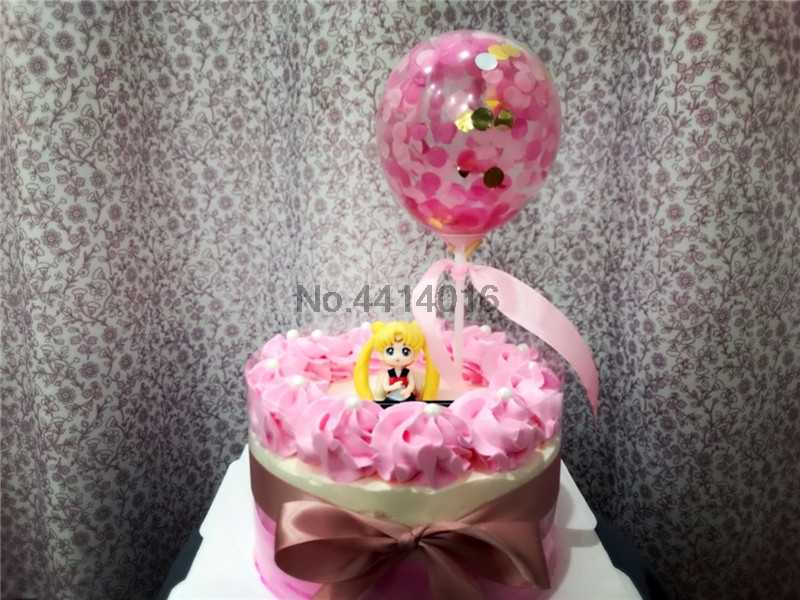 1pcs New Birthday Cake Balloon Confetti Decoration Plug In Card Party Holiday