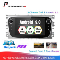AMprime Android 9.0 Quad core Car Radio Autoradio 2Din 7'' Touch Screen Car Multimedia Player GPS WIFI MP5 Bluetooth FM For Ford