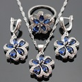 Blue Imitated Sapphire White CZ Silver Color Jewelry Sets For Women Necklace Pendant Earrings Rings Free Gift Box