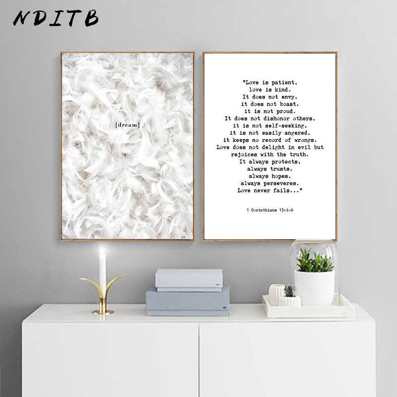Feather Canvas Painting Wall Art Poster Nordic Print Modern Minimalist Famous Quotes Wall Pictures for Living Room Decoration