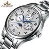 AESOP Men Watch Quartz Wrist Wristwatch Moon Phase Male Clock Famous Brand Steel Strap Waterproof Relogio