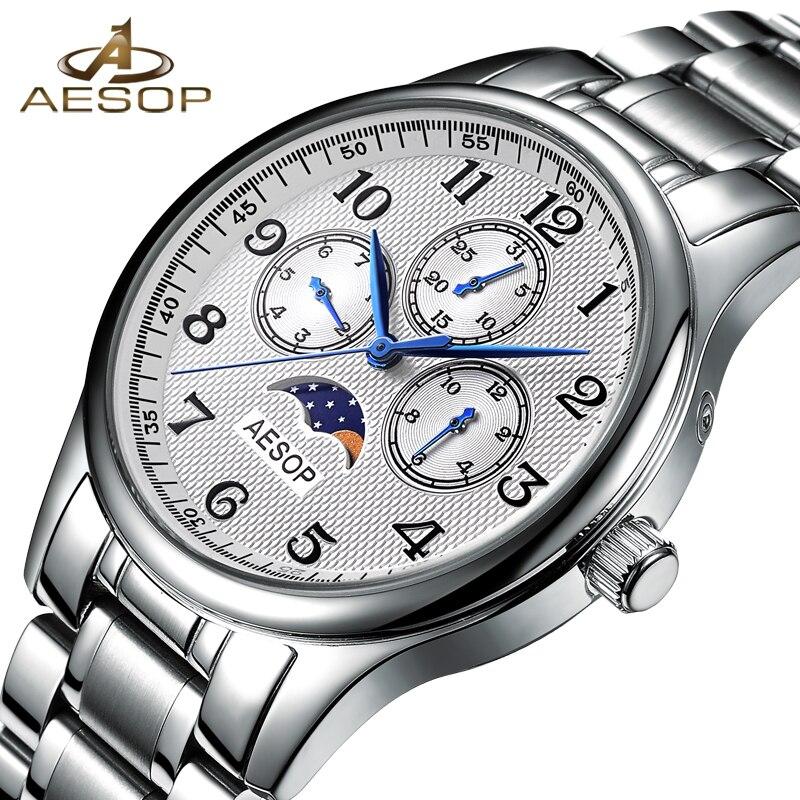 AESOP Men Watch Quartz Wrist Wristwatch Moon Phase Male Clock Famous Brand Steel Strap Waterproof Relogio Masculino Hodinky 27 aesop 100ml