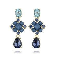 цена на 2020 New Luxury Crystal Gem Statement Big Earrings Elegant Light Blue Water Drop Pendant Rhinestone Earrings For Women Jewelry