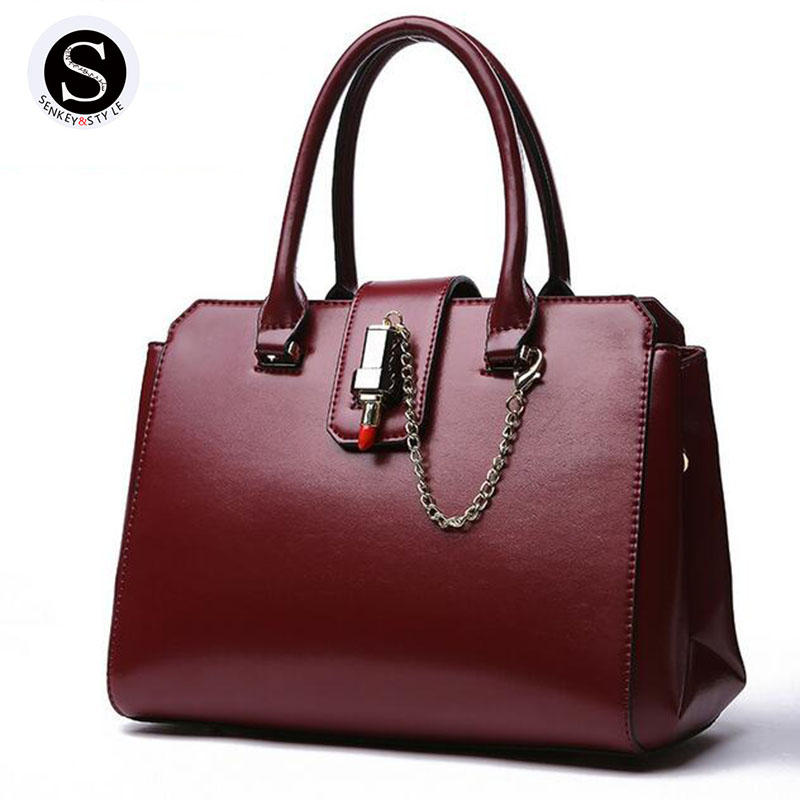 Senkey Style Genuine Leather Bags For Women Chain 2017 Big Ladies Hand Designer