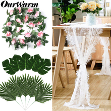 OurWarm Boho Wedding mariage Decoration Lace Table Runner DIY Hanging Dream Catcher Rose Garland Palm Leaves Backdrop