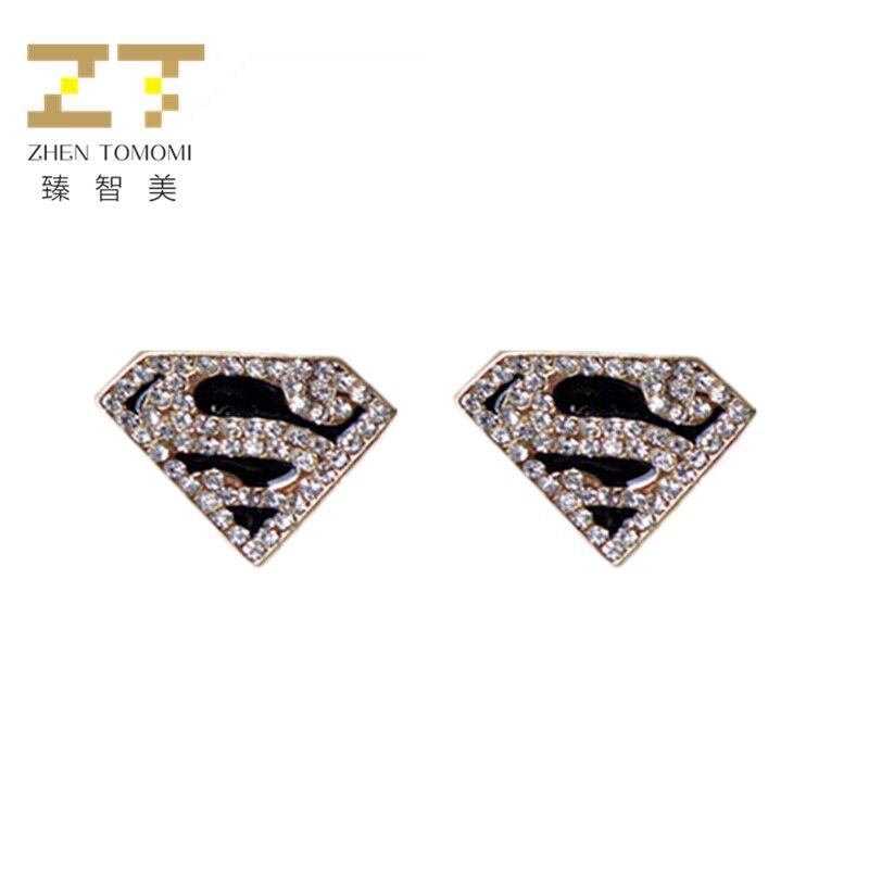 Super-popular Korean Hot Fashion Geometric Triangle Trapezoid Black Drip Letter S Crysta ...