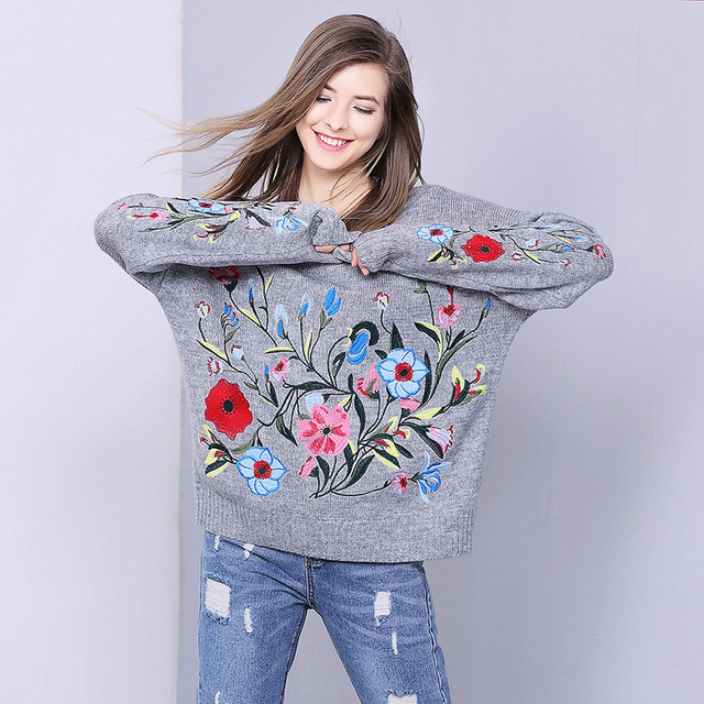 Flower sweater women embroidery sweater and pullover jumper large oversize  knitted warm casual sweater knitwear winter 2017 6db15bba0