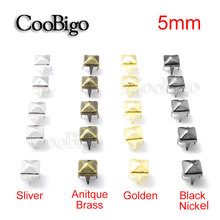 Pyramid Studs Bracelets-Accessories Rivets Craft Punk 5mm for DIY Four-Claw 50pcs Square