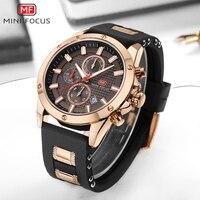 MINIFOCUS Sport Watch Men Waterproof Gold Mens Watches Top Brand Luxury Silicone Clock Quartz Watch Chronograph