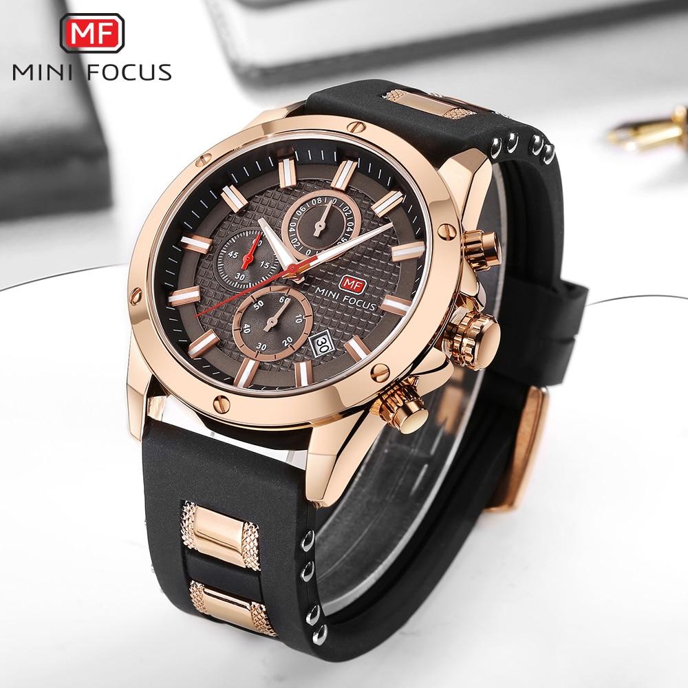 MINIFOCUS Sport Watch Men Waterproof Gold Mens Watches Top Brand Luxury Silicone Clock Quartz Watch Chronograph New Reloj Hombre все цены