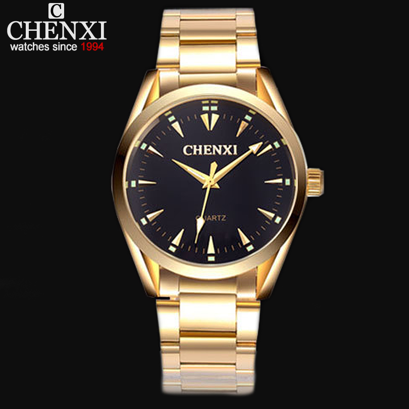 New Gold Watch Men Luxury Brand CHENXI Wristwatch Male Clock Golden Stainless Steel Wrist Watches Quartz Fashion Man Watches IPG luxury top brand chenxi men dress watch stainless steel gold silver quartz wristwatch waterproof retro male business clock