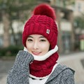 Hat female autumn and winter rabbit fur casual all-match sweet knitted hat knitted women warm winter knit cap scarves twinset