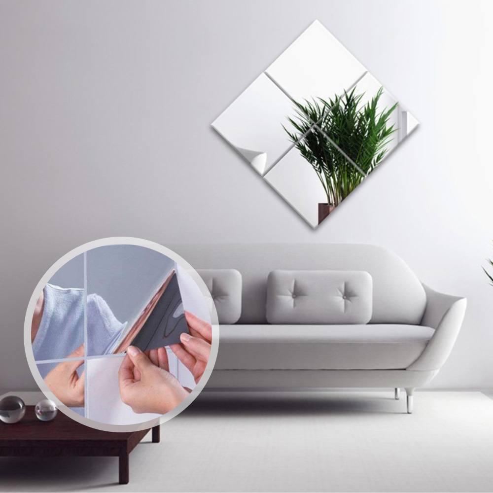 Mirror Wall Stickers Self Adhesive Tiles Mirror Sheets DIY Bathroom Stickers Wardrobe Mirrors Creative Home Decor 6 inch (6)