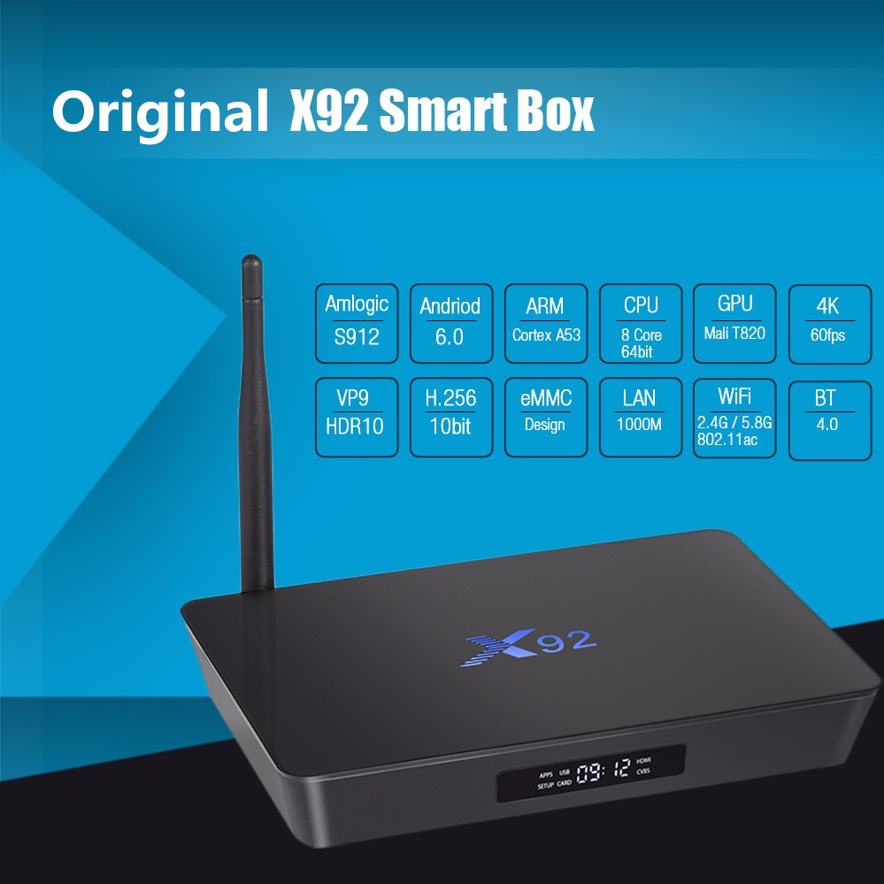 X92 TV Box Android 6.0 2GB 3GB RAM Amlogic S912 Octa Core 5G Wifi 4K Smart TV Set-top Set Top Box 3D HD Media Player PK X96 A95X x96 android 6 0 tv box amlogic s905x max 2gb ram 16gb rom quad core wifi hdmi 4k 2k hd smart set top box media player pk a95x