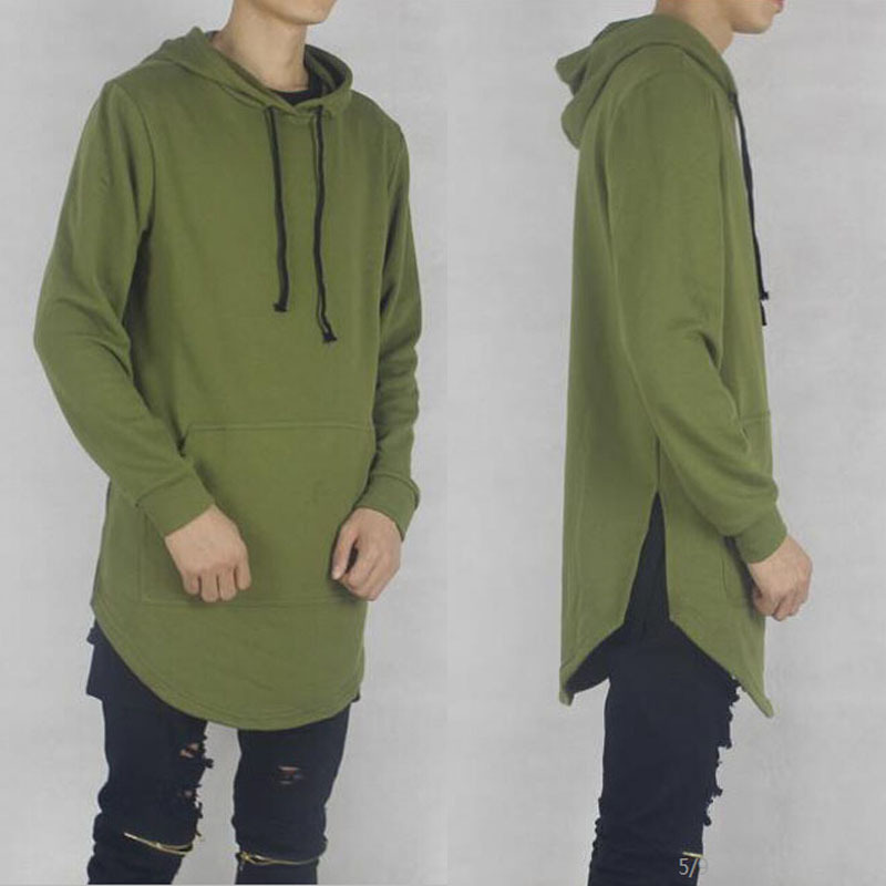 new fashion mens oversized side split Olive hood hoodie dark green ...