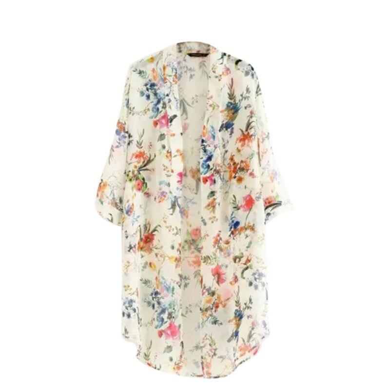 Frauen Weinlese Blumen Blumen Bluse Blumen lose Schal Kimono Strickjacke Boho Chiffon Tops Jacke Bluse N2 B3
