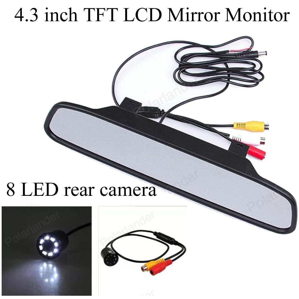 4.3 inch TFT LCD 2 VA input 480*272 Mirror Monitor with backup 8 LED IR night vision Waterproof Rear view camera