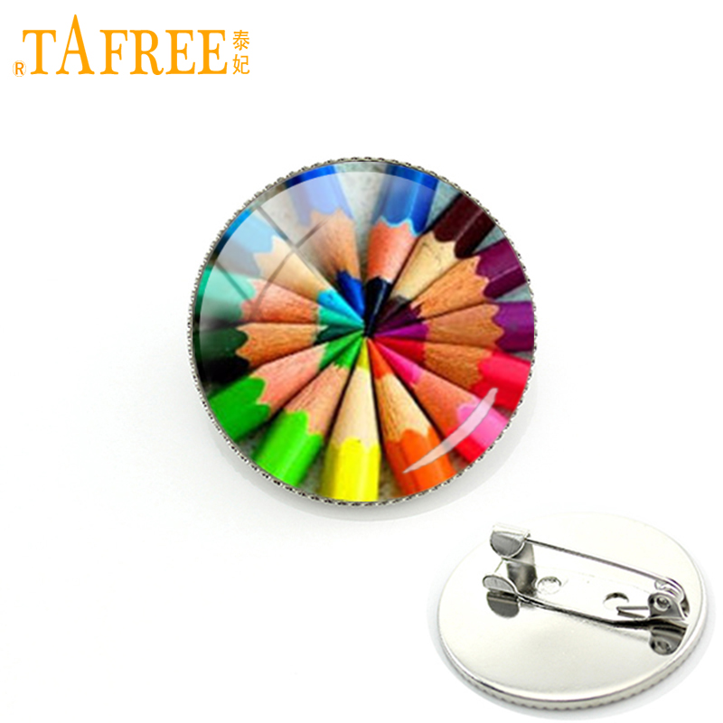 TAFREE colorful pencil circle Brooch 2017 New Arrival Pins special round glass gift Suitable for children jewelry H331