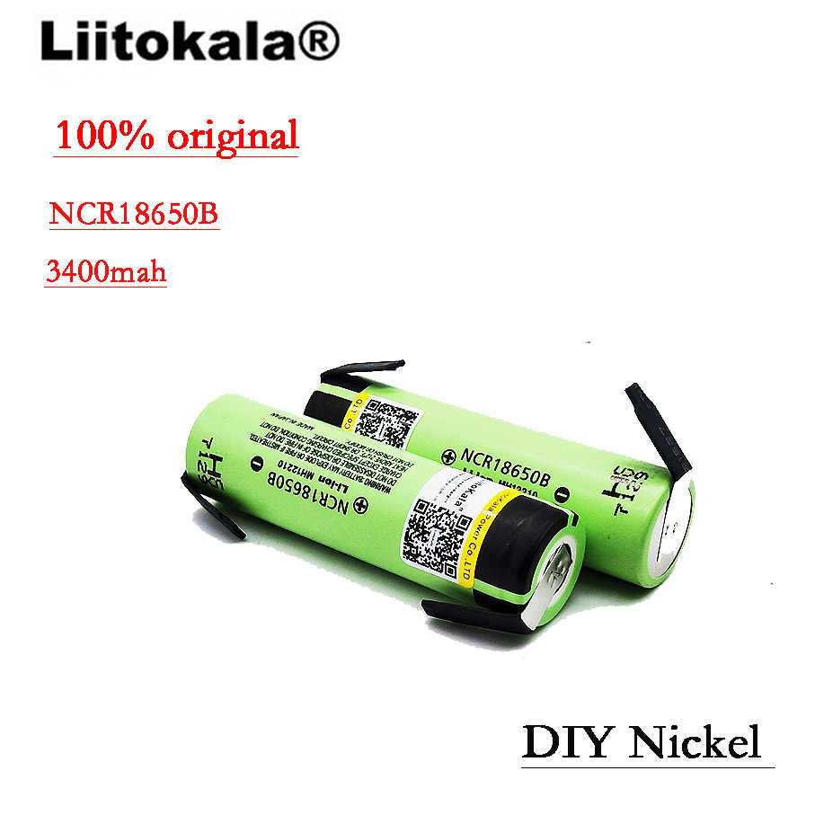 2019 Liitokala 100% חדש מקורי NCR18650B 3.7 v 3400 mah 18650 ליתיום נטענת סוללה DIY ניקל גיליון סוללות