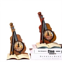 Violin Resin Style Creative Alarm Clock Romantic Living Room Bedroom Violin Alarm Clock Home Decoration Fashion Furnishing