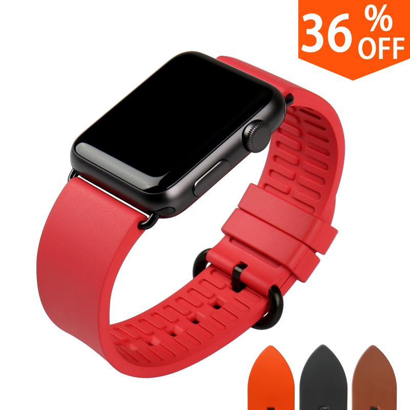 Prix pour Qualité à la mode rose rouge bracelets pour iwatch sport de caoutchouc fluoré caoutchouc montres bracelet pour apple bracelets montres 38mm 42mm