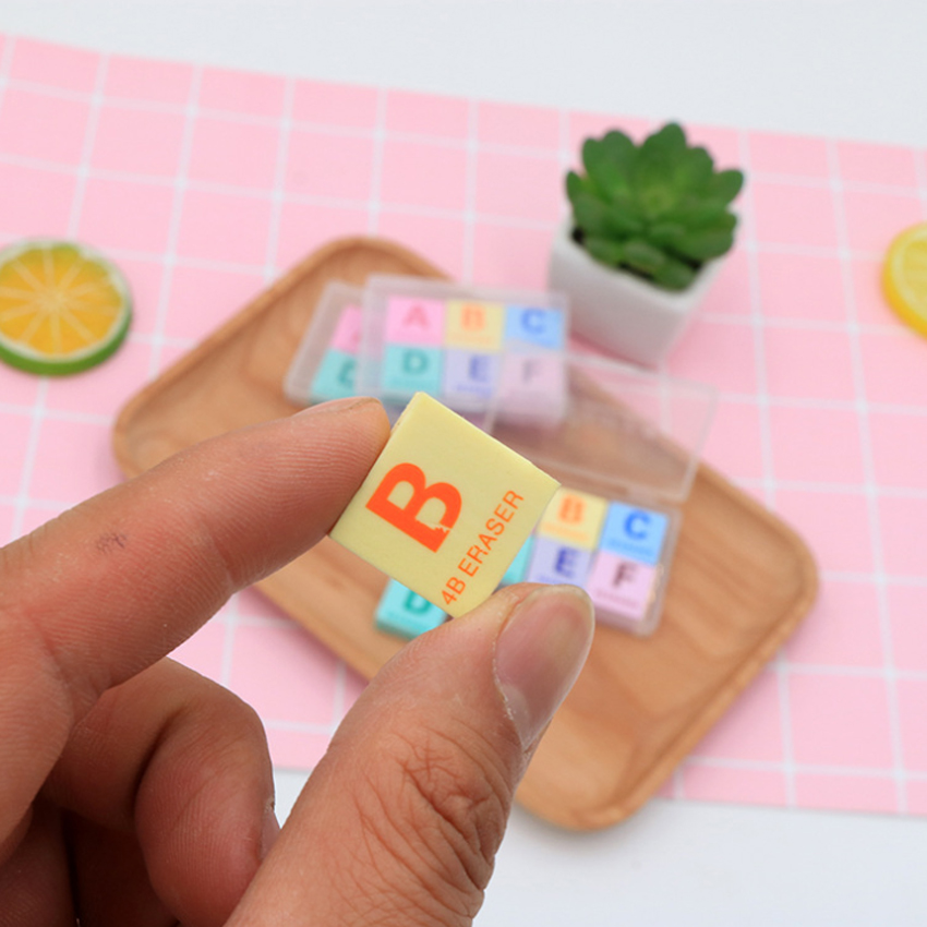6pcs/lot Kawaii Eraser Colorful Mini 4B Eraser Boxed Letter A-F Letter Rubber Eraser Set Cute Stationery School Office Supplies