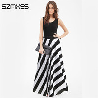 SZMXSS 2017 Women Summer Beach Boho Maxi Dress Striped Print Long Dresses Feminine Vintage Floor Length