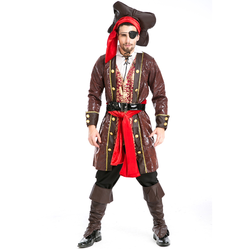Men High Quality Fashion Deluxe Party Pirates Cosplay Pirate Belt Headdress Patch Costume for Halloween Carnival A155819