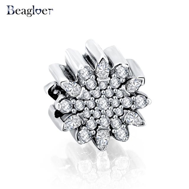 Beagloer clásico original 925 sterling silver snowflake beads fit pandora pulsera del encanto de la joyería de la boda regalo de navidad psmb0601