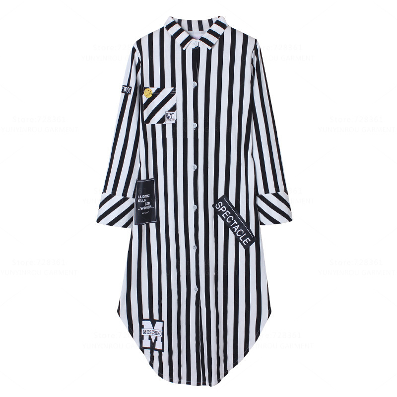2017 100% Cotton   Nightgown   Women Nightdress Striped Sleepwear Big Version   Nightgowns   Lady   Sleepshirts   Dress Lounge Home Clothing