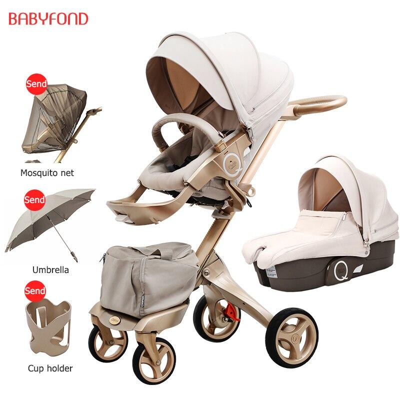 Free ship! Free Gifts! Original EU 2 in 1 baby stroller baby high landscape folding strollers send free gifts black frame cap eu to send carp
