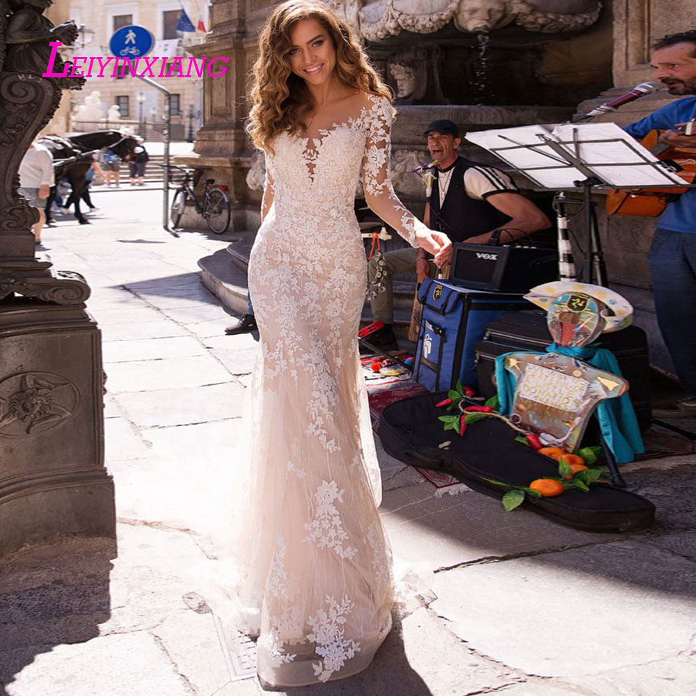 LEIYINXIANG New Arrival Wedding Dress Bride Gown Vestido De Noiva Sexy Mermaid Sweetheart Backless Illusion Appliques Princess