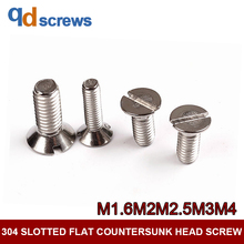 304 M1.6M2M2.5M3M4 Slotted Flat countersunk head screw GB68 DIN963 ISO 2009 JIS B 1101.3 все цены