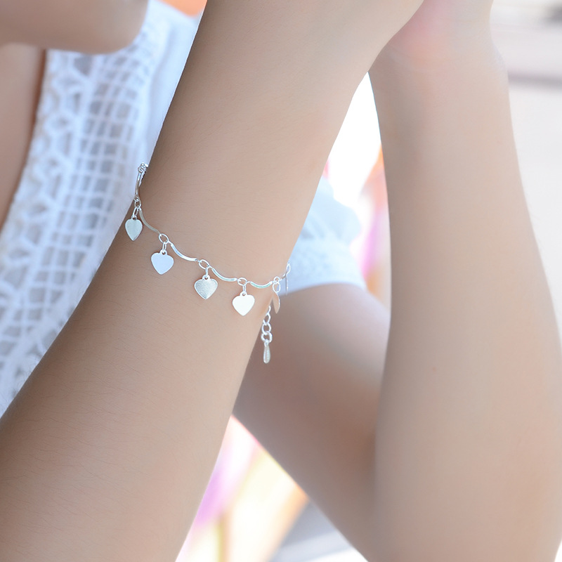 Everoyal Charm Silver 925 Wedding Bracelets For Girl Bride Accessories Cute Heart Anklets Silver For Women Valentine's Day Gift