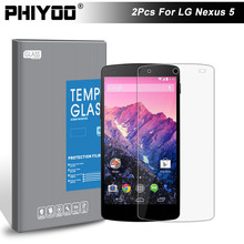 2Pcs/Lot PHIYOO Original 0.3mm Amazing Tempered Glass For LG Nexus 5 E980 Google D820 D821 Screen Protector Premium Glass Film