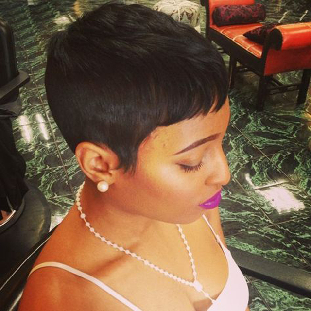 African American Short Black Pixie Cut Wig Human Brazilian Hair