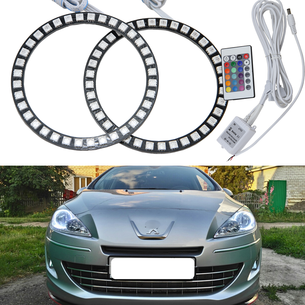 Excellent Multi-Color RGB Color Change LED Angel Eyes kit For Peugeot 408 2010 2011 2012 2013 projector headlight Halo Ring kits 4 90mm rgb led lights wholesale price led halo rings 12v 10000k angel eyes rgb led angel eyes for byd for chery for golf4
