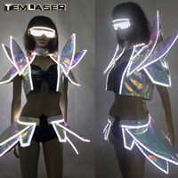 White Color Led Light Flashing Sexy Women Suit Dress Costume Led Luminous Sexy Lady Bra Vest And Pants Suit For Party DJ Club