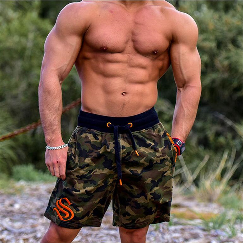 HETUAF Men's Shorts Summer Fashion Military Trunks French Terry Cotton Casual Hip Hop Male Short White Camouflage