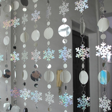 Christmas decoration curtain PVC sequins snowflake Festive party supplies indoor home decoration