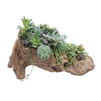 Resin Artificial Twisted Driftwood Planter Flower Pot Sculpture Succulent Planter Multilayer 2 Pots for Decoration No Plants