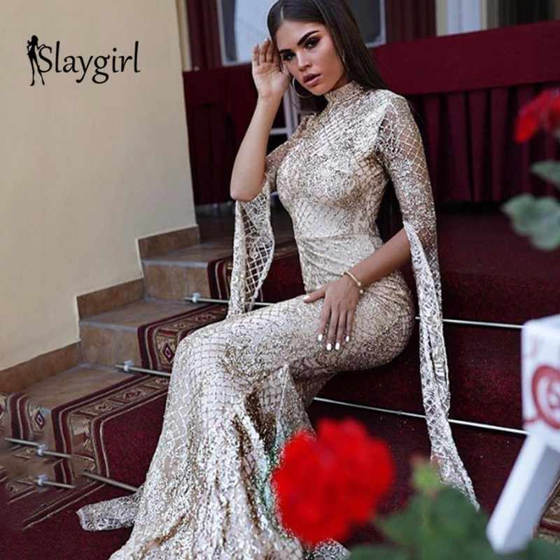 Slaygirl Sexy Party Women Dress Long Sleeve club Sequin bodycon Dresses  Female Long Solid Vintage Elegant 5610faf14b0f
