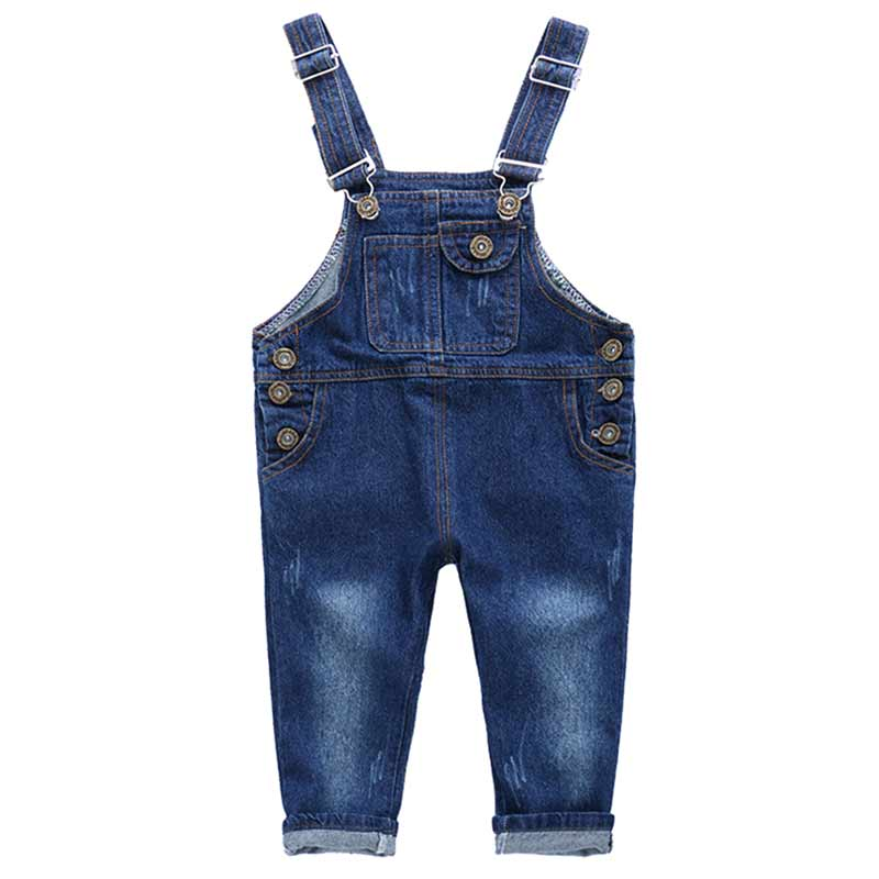 Fashion Spring Autumn Children's Overalls Girls Boys Denim Jeans Pocket Jumpsuit Bib Pants Kids Baby Overall M09
