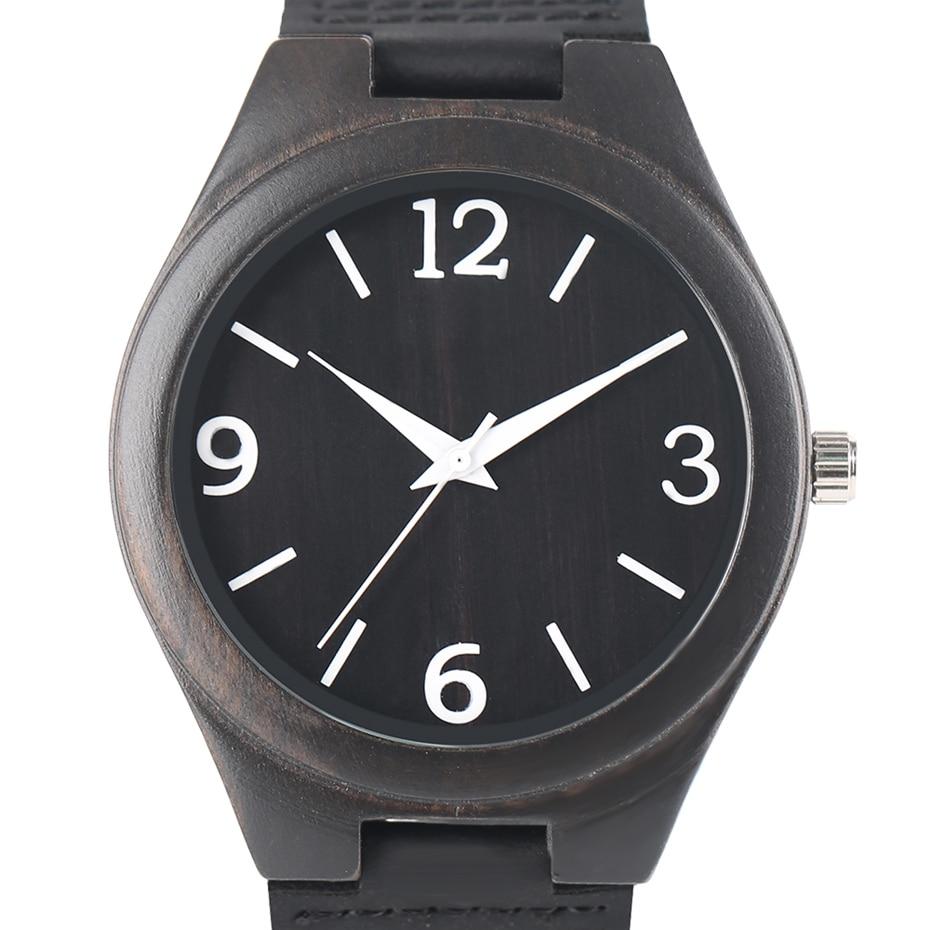 Natural Ebony Wood Bamboo Watch Mens Creative Quartz Wristwatch Numbers Handmade Genuine Leather Band Clock Gift horloges mannen