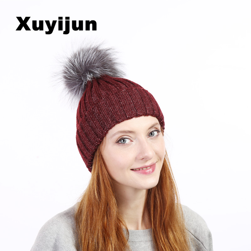 Xuyijun Mink and fox fur ball cap pom british winter hat for woman girls hat knitted cap caps new thick woman cap 7 color new star spring cotton baby hat for 6 months 2 years with fluffy raccoon fox fur pom poms touca kids caps for boys and girls