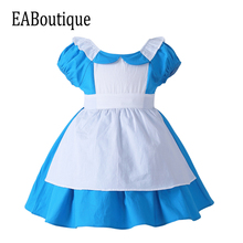 EABoutique 2017 New high quanlity Alice's Adventures in Wonderland cotton halloween costumes for kids girls