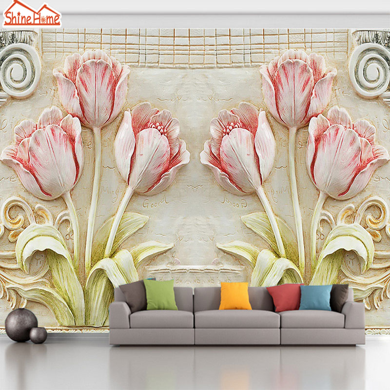 ShineHome-Flower Large Custom Brick Wallpapers European 3D Wall Murals Contact Paper Home Decor Living Room Wallpaper-Roll-Size shinehome maple leaf floral golden wallpaper for 3d rooms walls wallpapers for 3 d living room wall paper murals mural roll